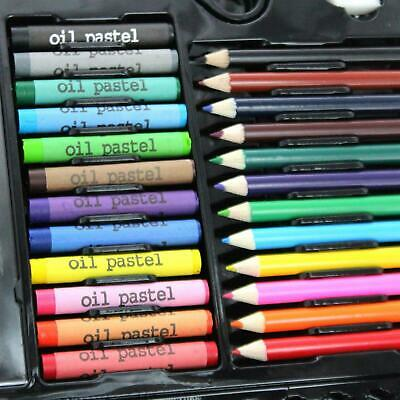 90pc Art Set Kids Watercolour Pens Crayons Pencils Sponge Scissors Oil Pastels 4