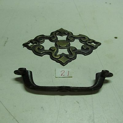 BRASS PULL HANDLES WITH BACK PLATES OLD VINTAGE used 6