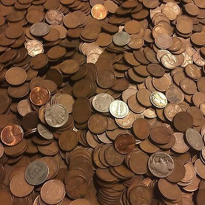 ✯1Lb Pound Unsearched Wheat Cents Lincoln Pennies✯Estate Sale Coins Lot✯1909-58✯ 10