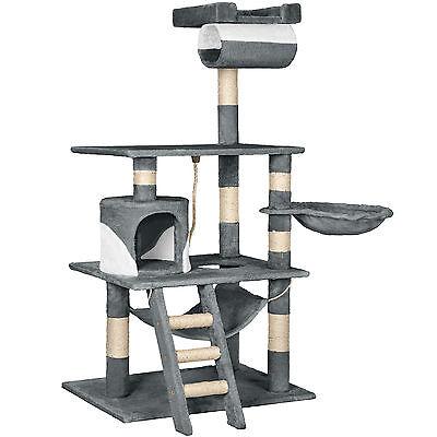 Arbre à chat griffoir grattoir geant avec hamac lit 141 cm hauteur gris blanc 2