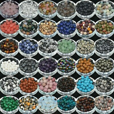 Natural Gemstone Round Spacer Loose Beads 4mm 6mm 8mm 10mm 12mm Assorted Stones 4