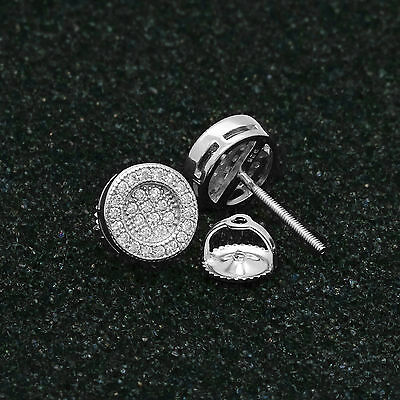 bf27410ea ... 925 Sterling Silver Round Circle Flat Screen Stud Screw Back Earrings  8mm Lab Cz 5