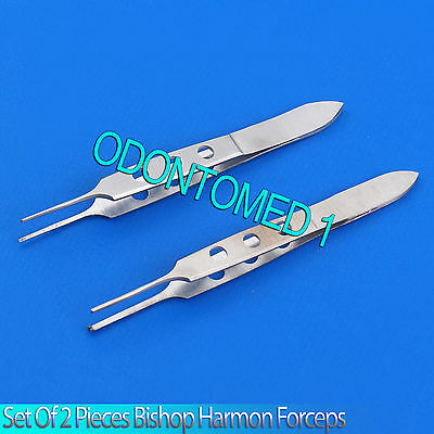 2 Bishop Harmon Forceps 1x2 Teeth & Serrated Ent Instruments 2