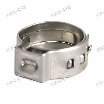"100pcs 3/8"" Ear PEX Clamp Cinch Rings Crimp Pinch Fitting Stainless Steel"