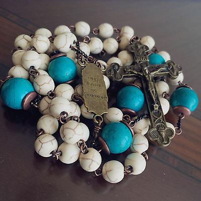 White Turquoise & bule Turquoise beads Vintage Catholic Rosary Cross Necklace 8