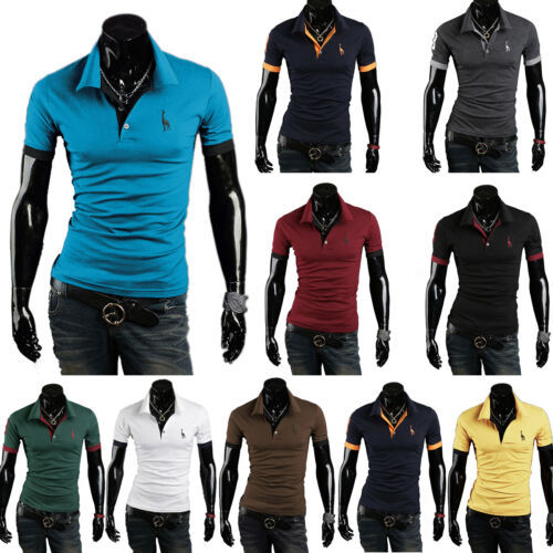 Mens short sleeve slim fit polo shirts business working for Slim fit golf shirts
