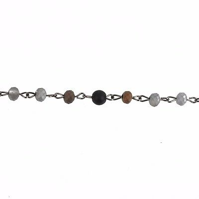 3ft Matte SILVER BLACK Crystal Rondelle Rosary Chain gunmetal 6mm beads fch0774a 3