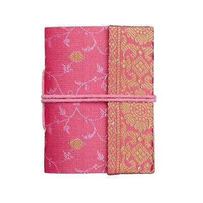 Sari Stoff Tagebuch Notizbuch Pink 13.5cm x 21.5cm Ungefüttert Recyclingpapier