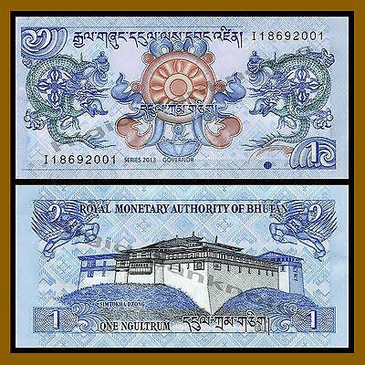 Bhutan 1 Ngultrum x 100 Pcs Bundle, 2013 P-27b Unc 2
