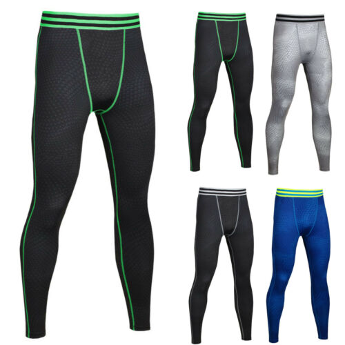 Men Fitness Jogger Pants Tight Compression Base Layer GYM Sport Workout Leggings 5 5 of 12 ...