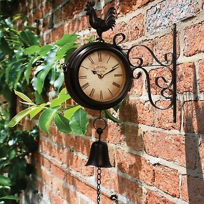 Wyegate Garden Station Clock Wall Mount Rooster Outdoor Thermometer Double Sided 4