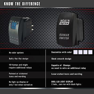 Blue 20A 12V ON//OFF REAR LOCKER STARK 5-PIN Laser Etched LED Rocker Switch Dual Light