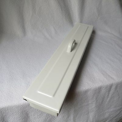große alte Wiesantha Email lange Instrumentenschale Emaille mit Deckel 43x7cm