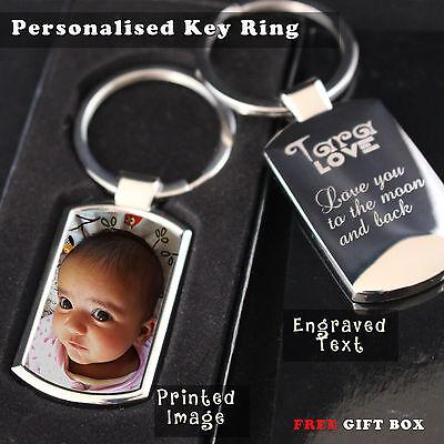 Personalised Custom Metal Keyring Photo Printed & Engraving on back Free Giftbox 3