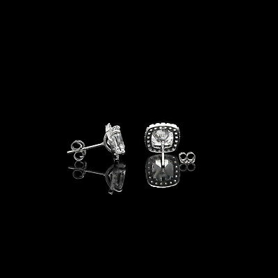 2 Ct Halo Cushion & Round Created Diamond Earrings 14K White Gold Square Studs 3