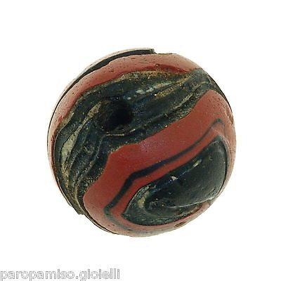 Early Islamic folded Glass Bead large size. (0429) 10