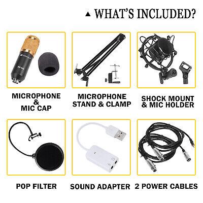 BM800 Condenser Microphone Kit Studio Pro Audio Recording Arm Stand Shock Mount 11