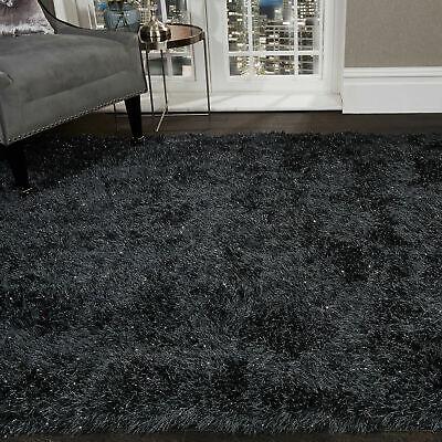 5.5cm Black Large SHAGGY Floor RUG Soft SPARKLE Shimmer Glitter Thick Pile 3