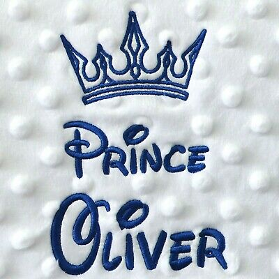 Personalised Baby Blanket Luxury White Bubble Style Blue Font Disney Prince Gift 3