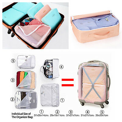 5pcs Packing Cube Pouch Suitcase Clothes Storage Bags Travel Luggage Organiser 3