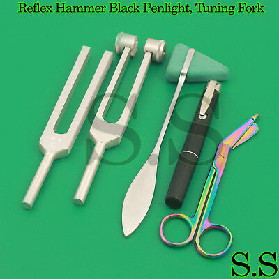 Set 5 - Reflex Hammer Green Penlight, Tuning Fork C128, C512 & Rainbow Scissor
