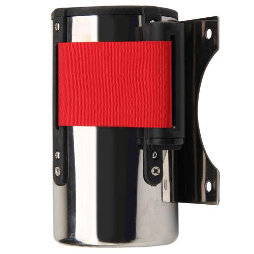 5M Rojo CinturóN Stanchion Barrera de Control Multitud Montaje Pared Retráctil 9