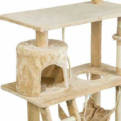 Arbre à chat griffoir grattoir animaux geant avec hamac lit 141 cm hauteur beige 5