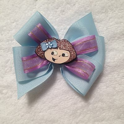 HairBow Doll Dress New Handmade Blue Dora Explorer DressToddler//Girls 2T-7//8Y