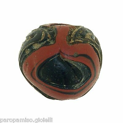 Early Islamic folded Glass Bead large size. (0429) 3