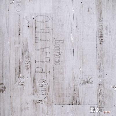PVC BODENBELAG RUSTIKAL Hell Mit Schrift Aufdruck Vinyl Breite M - Vinylboden mit schrift