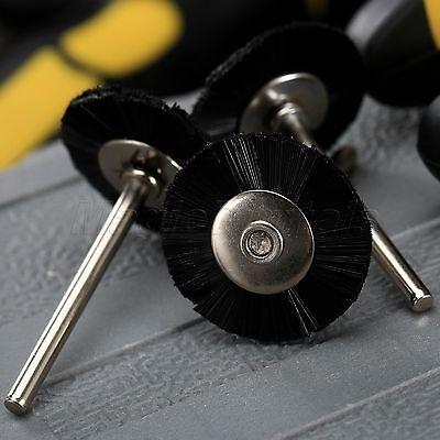 "5Pc 25mm Black Nylon Bristle Wheel Wire Brush 1/8"" Shank For Grinder Rotary Tool 7"