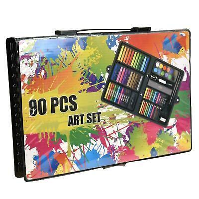 90pc Art Set Kids Watercolour Pens Crayons Pencils Sponge Scissors Oil Pastels 7
