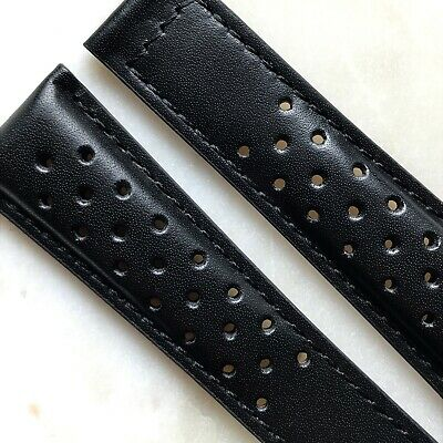 Black Genuine Leather Perforated Racing Watch Strap Band Made for TAG Heuer 7