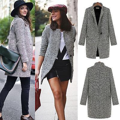 Womens Lapel Wool Cashmere Coat Trench Jacket Long Parka Overcoat Outwear WS010