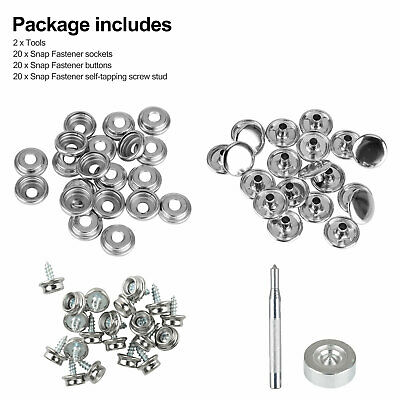 62pc//Set Stainless Steel Fastener Snap Press Stud Cap Button Marine Boat Canvas
