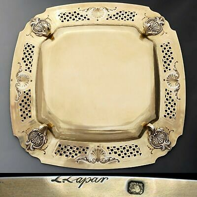 Antique French Sterling Silver Gold Vermeil Compote Footed Tray Serving Plate 2 3