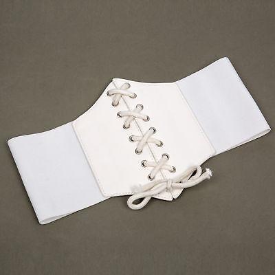 Ladies Waist Cincher Wide Band Elastic Tied Waspie Corset Leather Belt Uk Stock 9