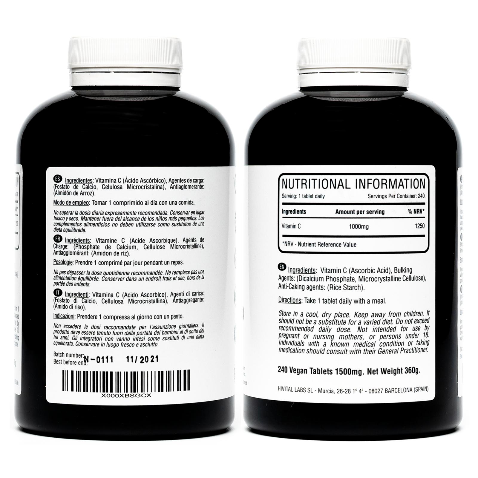 Vitamina C 1000 mg | 240 comprimidos veganos (Suministro para 8 meses) 2