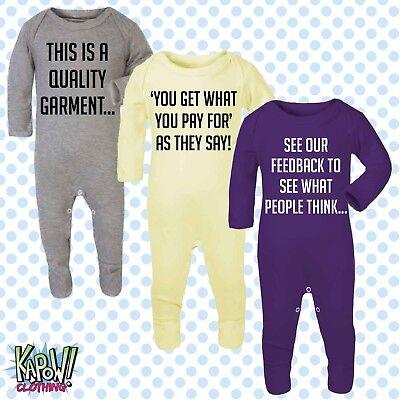 Custom Personalised Baby Grow ROMPER Sleep Suit Gift-Choose text/logo-18 colours 5