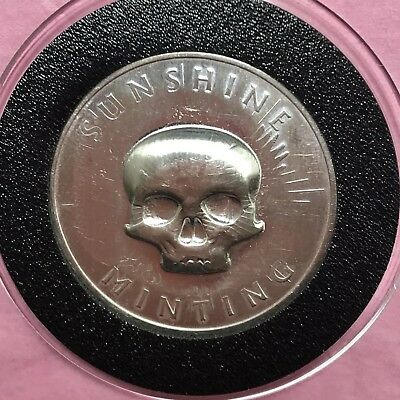 Skull Stamp Sunshine Minting 1/2 Troy Oz .999 Fine Silver Round Coin Medal 999 3