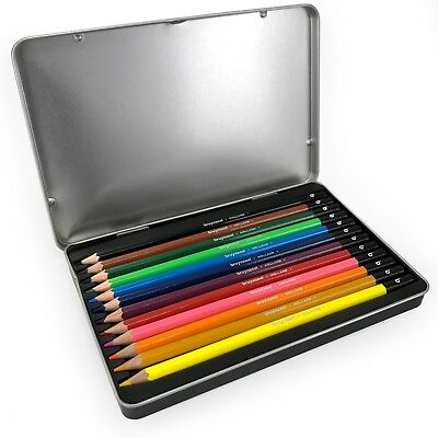 Bruynzeel Colouring Pencils - 12 Assorted Colours in Metal Gift Tin - Pink Set 3