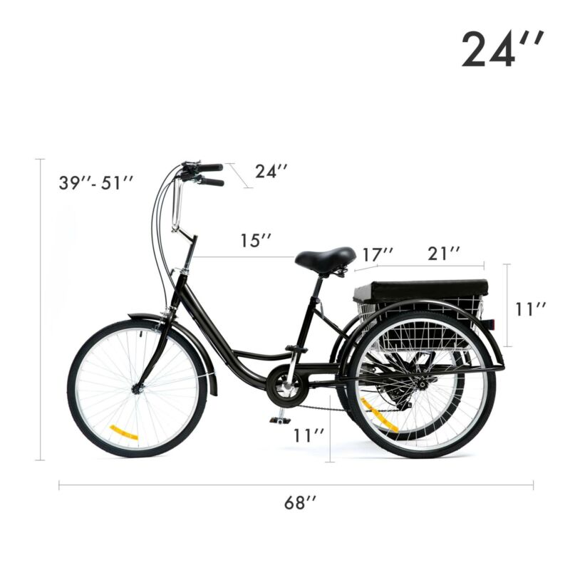 "26""/24""/20"" 8 Speed Adult Trike Tricycle 3-Wheel Bike w/Basket for Shopping 11"