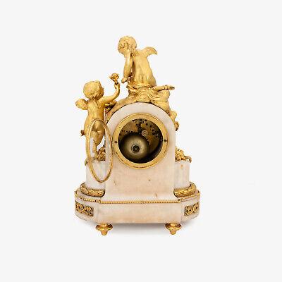 French Napoleon III ormolu clock, pendulette, putti Cupid signed Vincenti & Cie 5