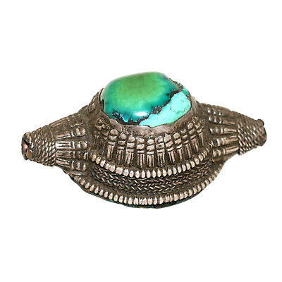(2567) Antique element of headdress Ladakh/Tibet. Turquoises and silver 4