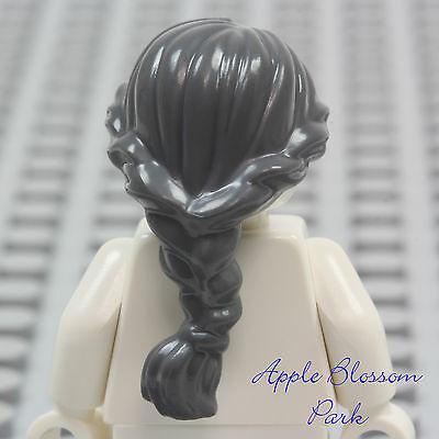 ☀️Lego Hair Female Girl Dark Bluish Gray Old Lady Women Grandma Braided Ponytail