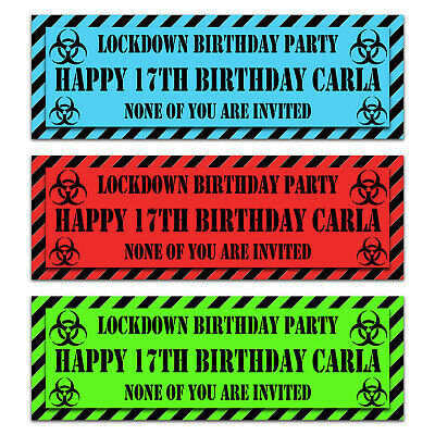 2 personalised Lockdown Birthday party text banners quarantine home parties