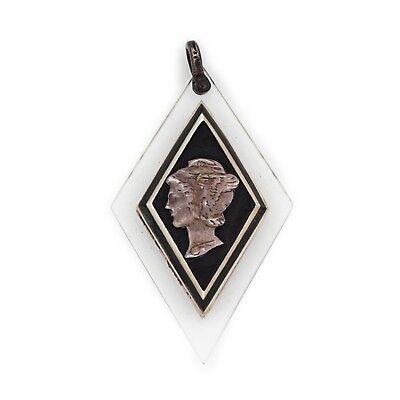 "Antique Vintage Art Deco Sterling Silver Geometric Greek Hermes 1.9"" L Pendant 2"