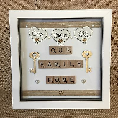 PERSONALISED BOX FRAME New Home First Home Scrabble Love House ...