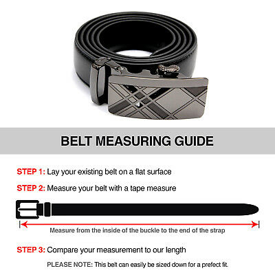 Fashion Men's Automatic Real Leather Ratchet Belt Strap Jeans Waistband Gift 10