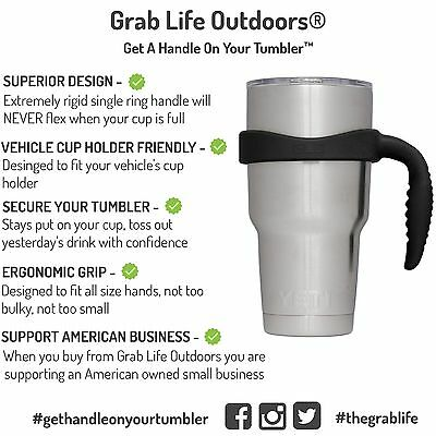 30 Oz Tumbler Handle - Grab Life Outdoors - Fits YETI Rambler, Ozark Trail &.. 3